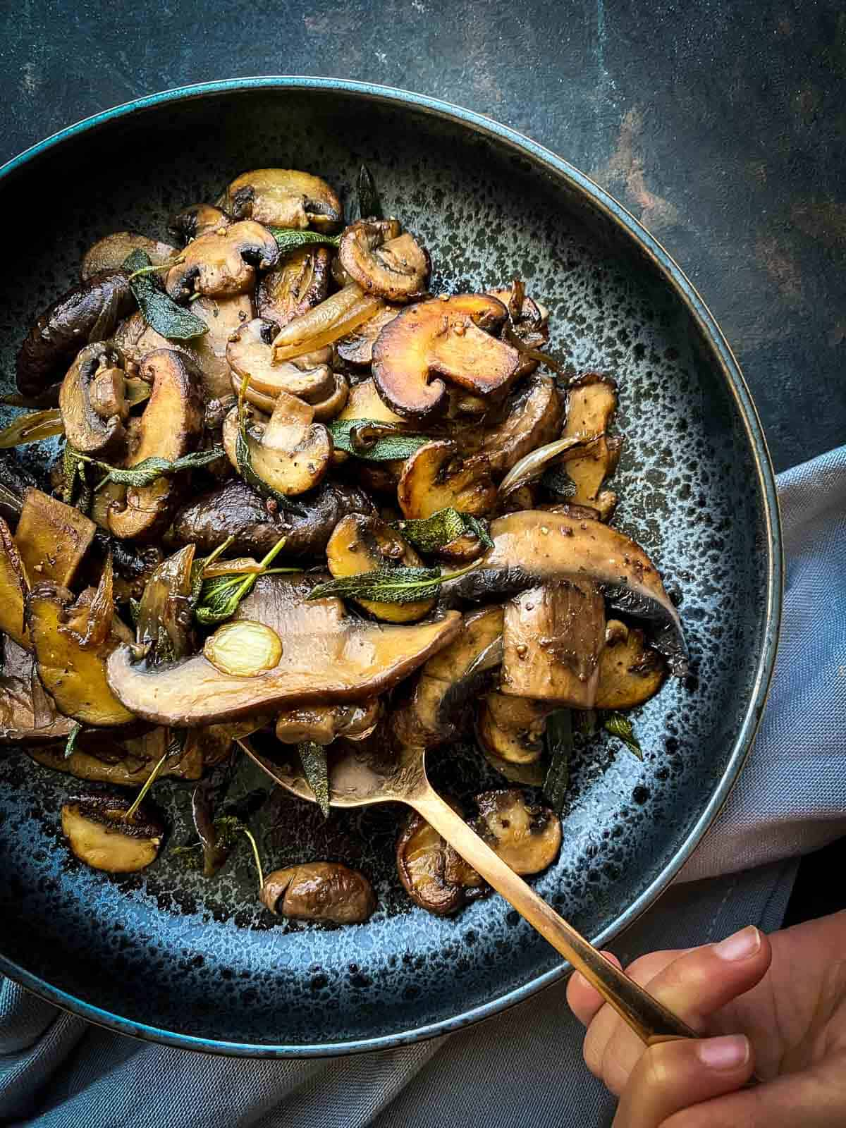 Easy Sauteed Mushrooms with Soy Sage Butter
