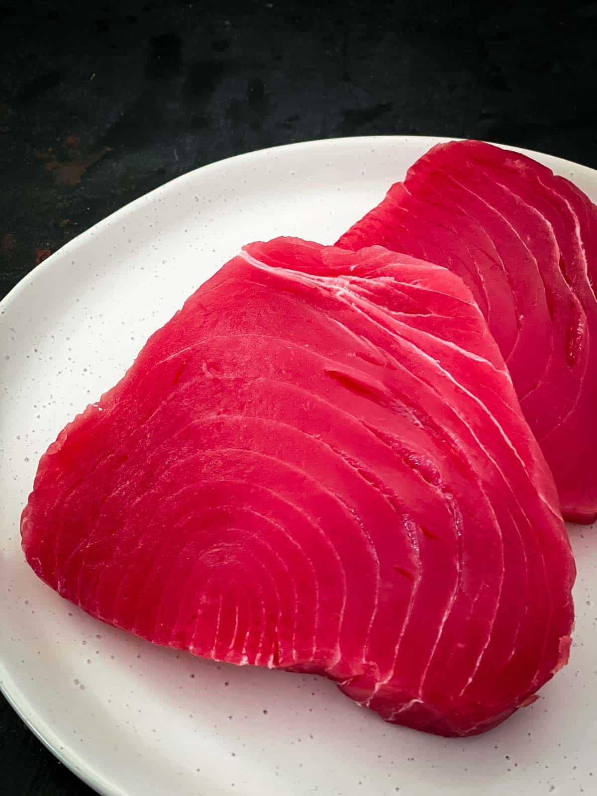 Raw sushi grade tuna steak