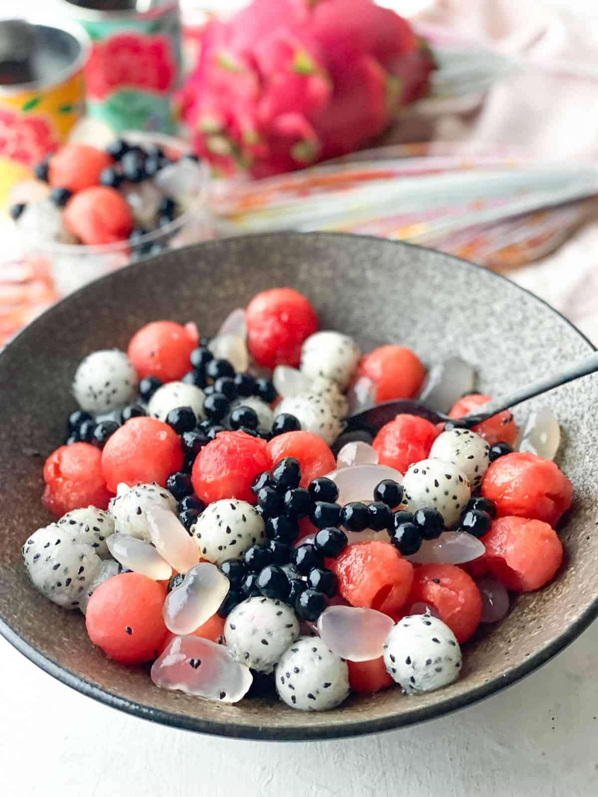 Watermelon Fruit Salad with Brown Sugar Boba