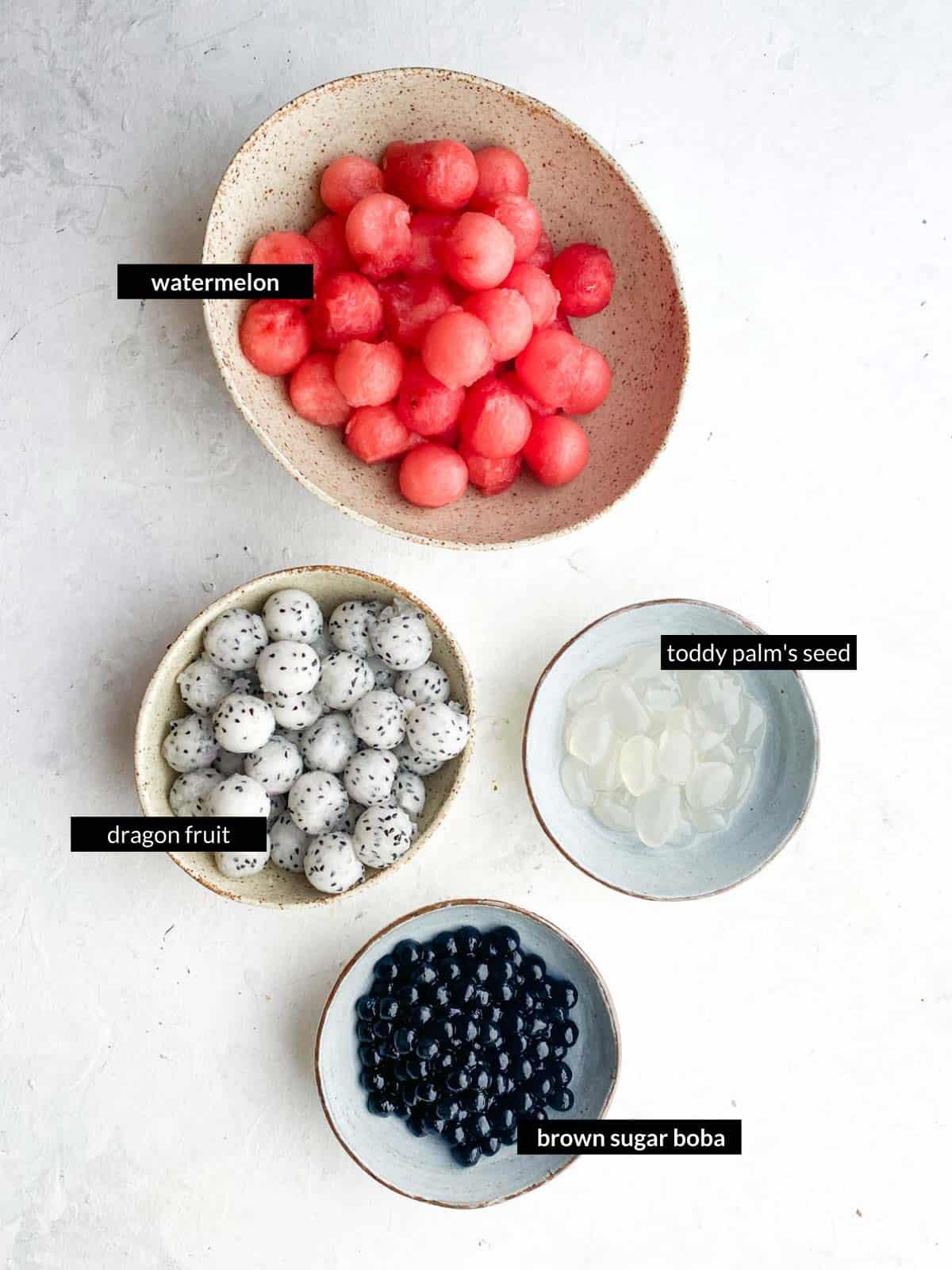 Watermelon Fruit Salad with Brown Sugar Boba Ingredients