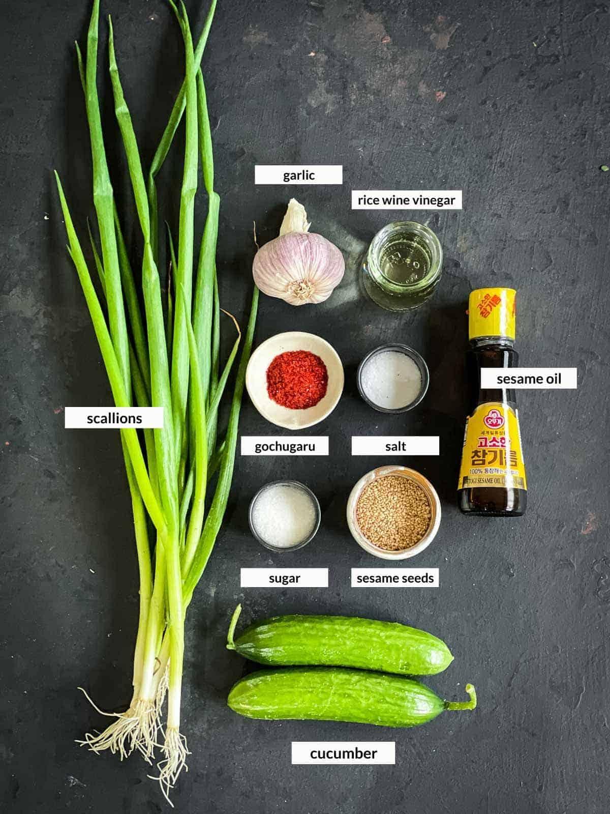 Korean Cucumber Salad - Oi Muchim Ingredients