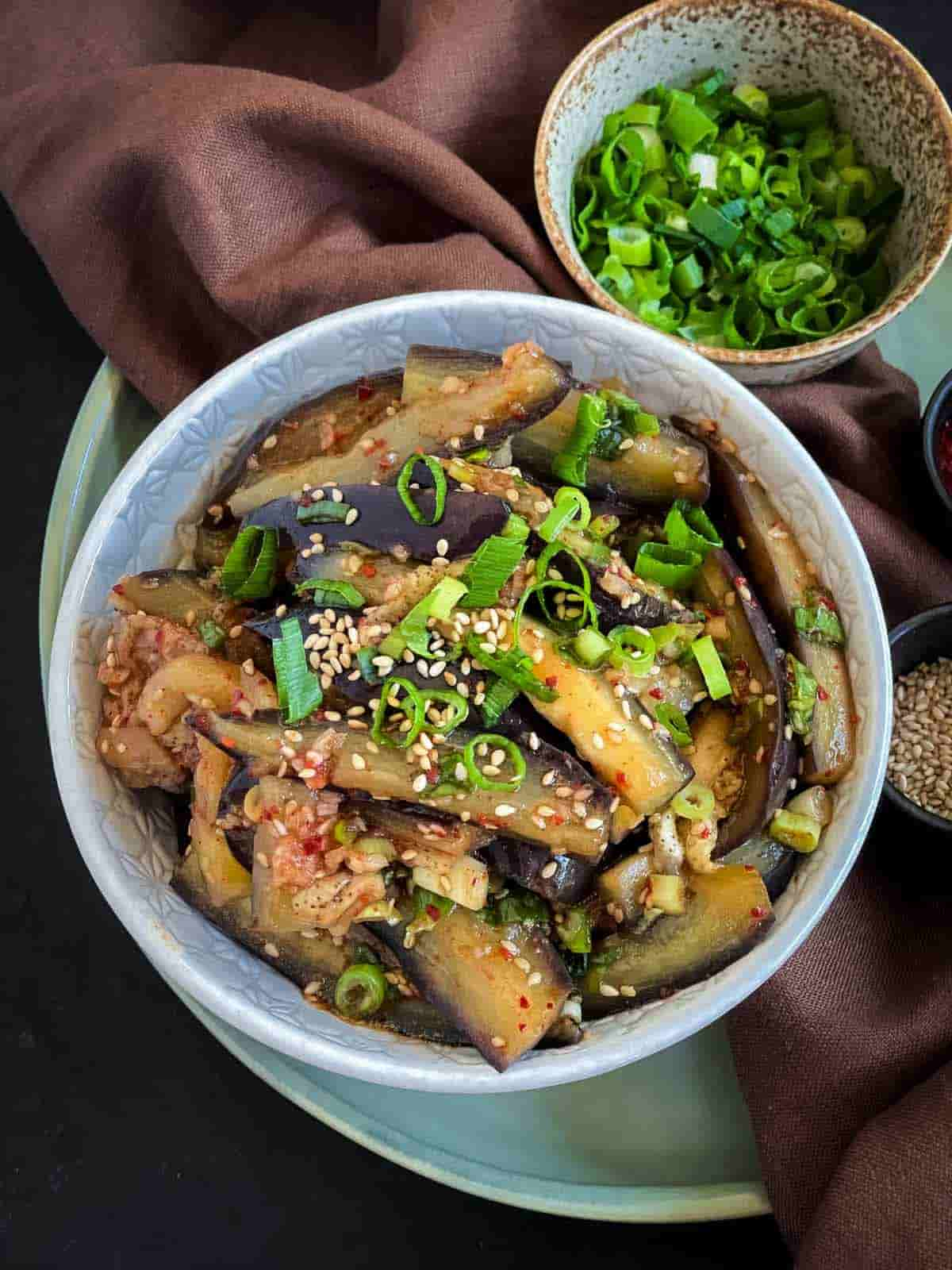 Korean Steamed Eggplant Side Dish - Gaji Namul