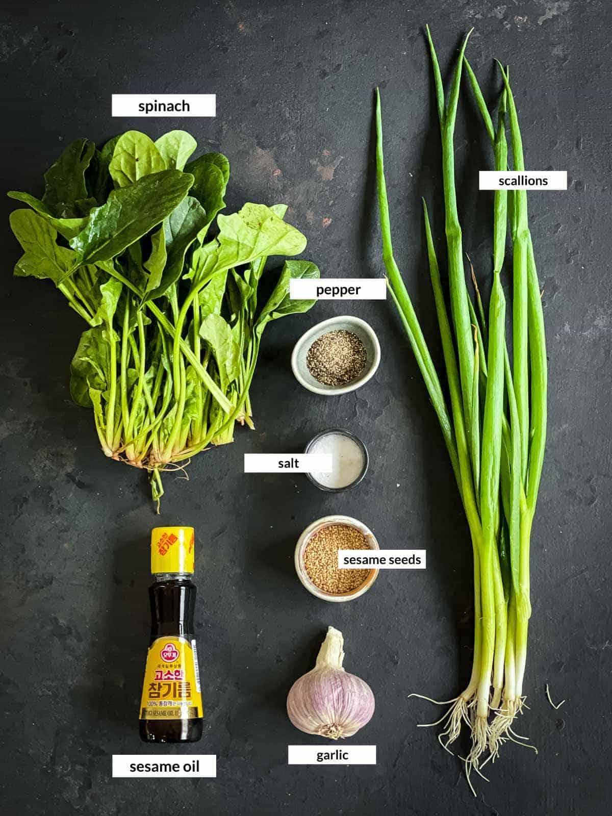Korean Spinach Side Dish - Sigeumchi Namul Ingredients