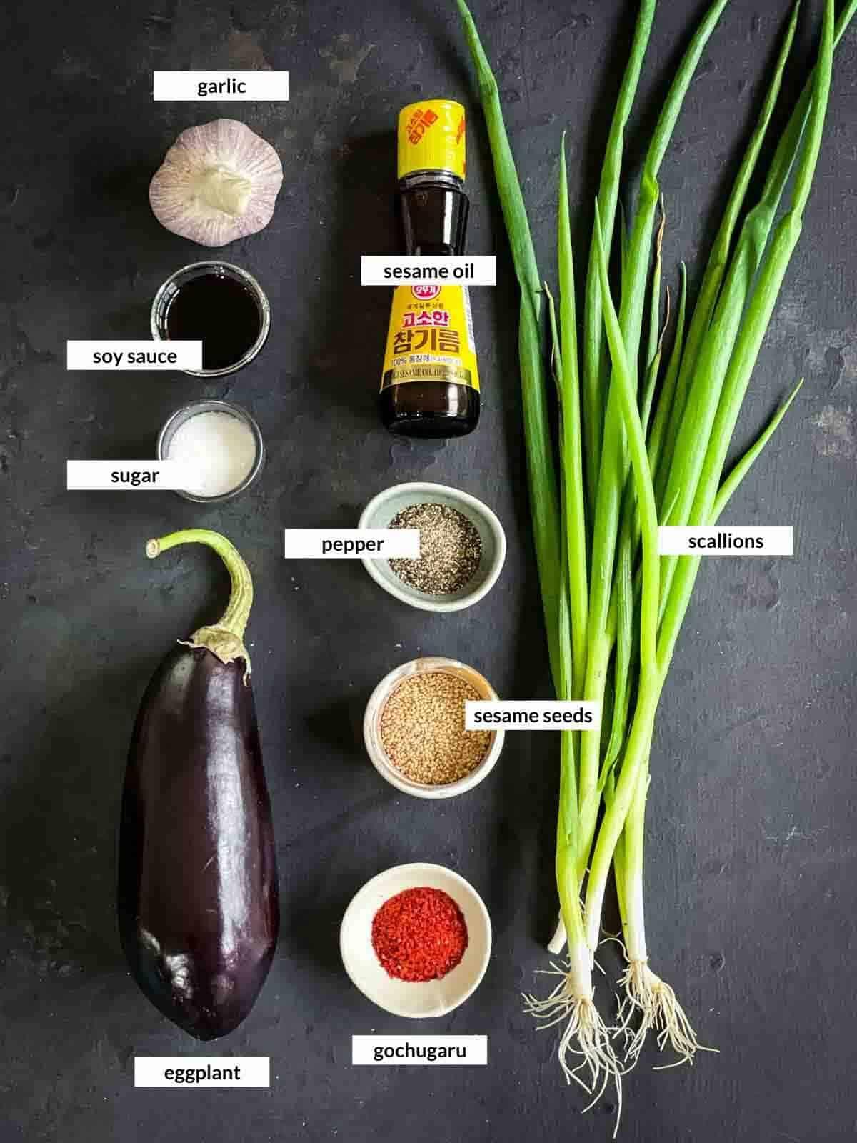 Korean Steamed Eggplant Side Dish - Gaji Namul Ingredients