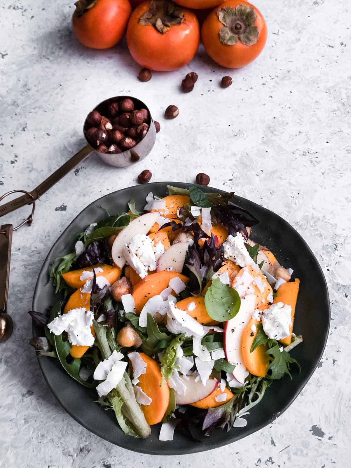 Persimmon Salad with Candied Hazelnuts