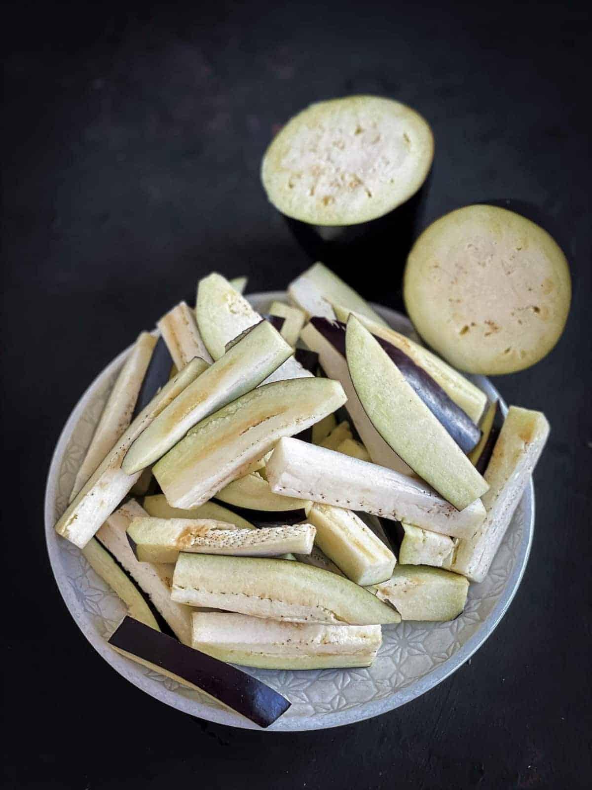 Sliced eggplant or aubergines