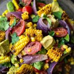 Charred Corn Avocado Salad with Roasted Red Onions