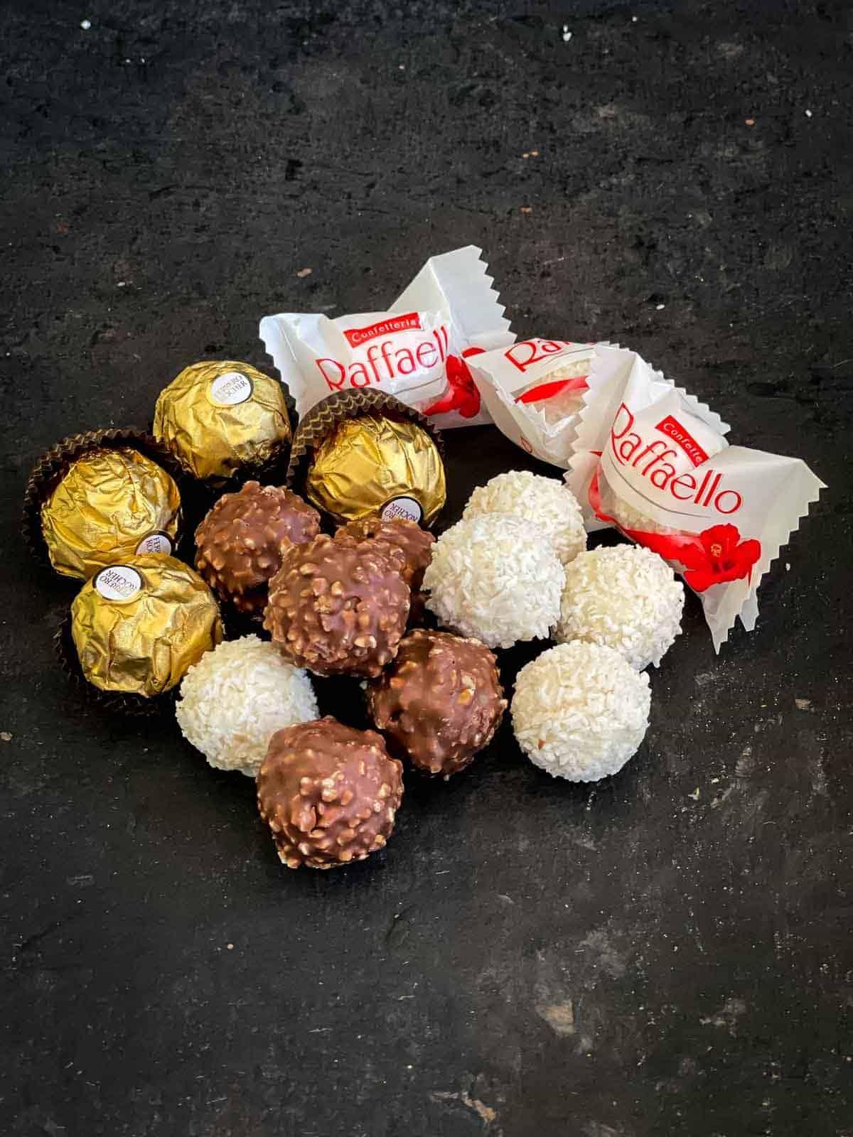 Ferrero Rocher and Raffaello chocolates