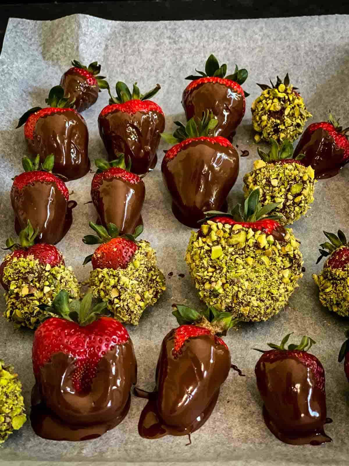 Chocolate and pistachio covered strawberries