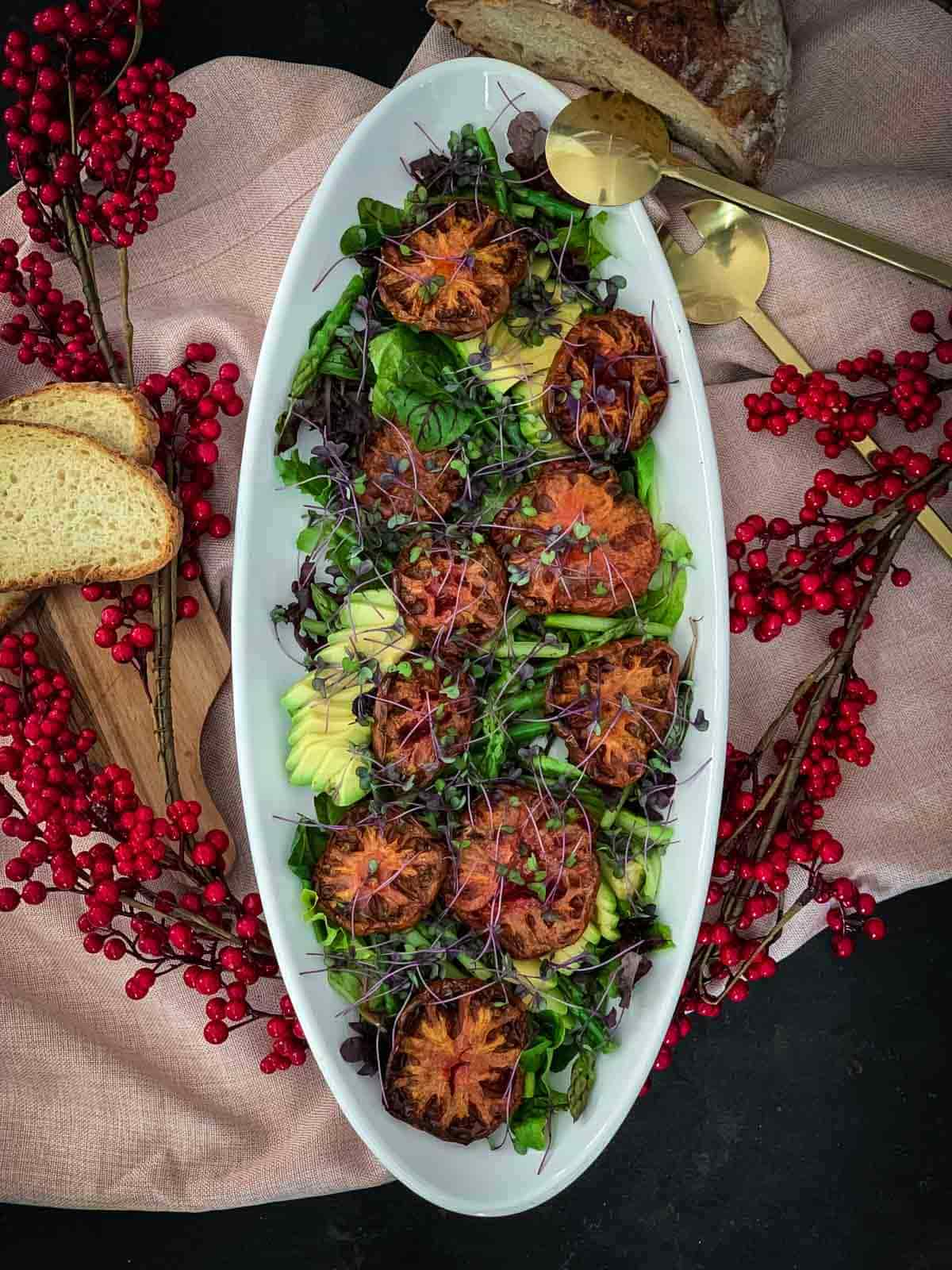 Christmas Salad with Heirloom Tomatoes and Asparagus