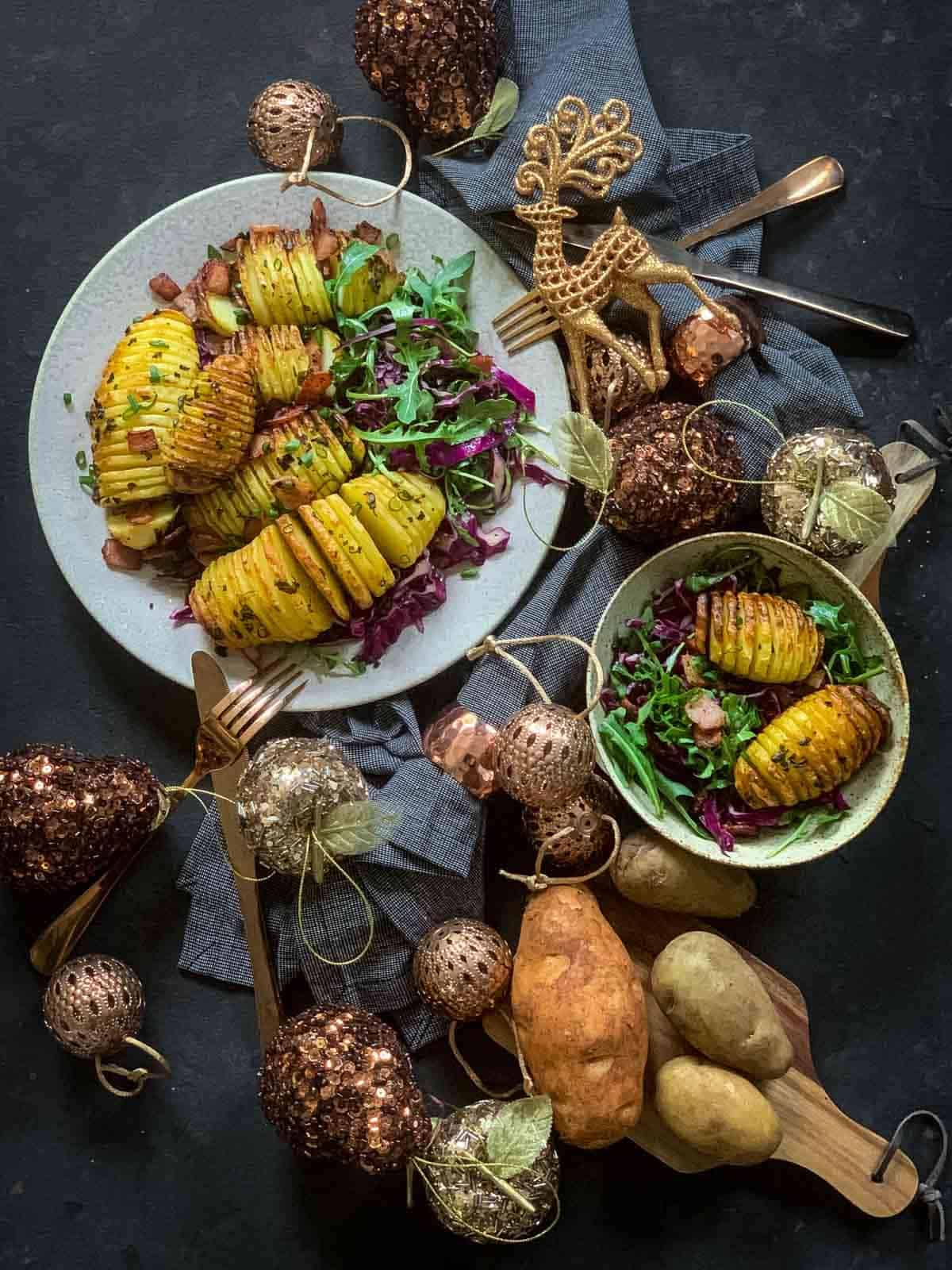 Christmas Salad with Roasted Potatoes, Bacon & Arugula