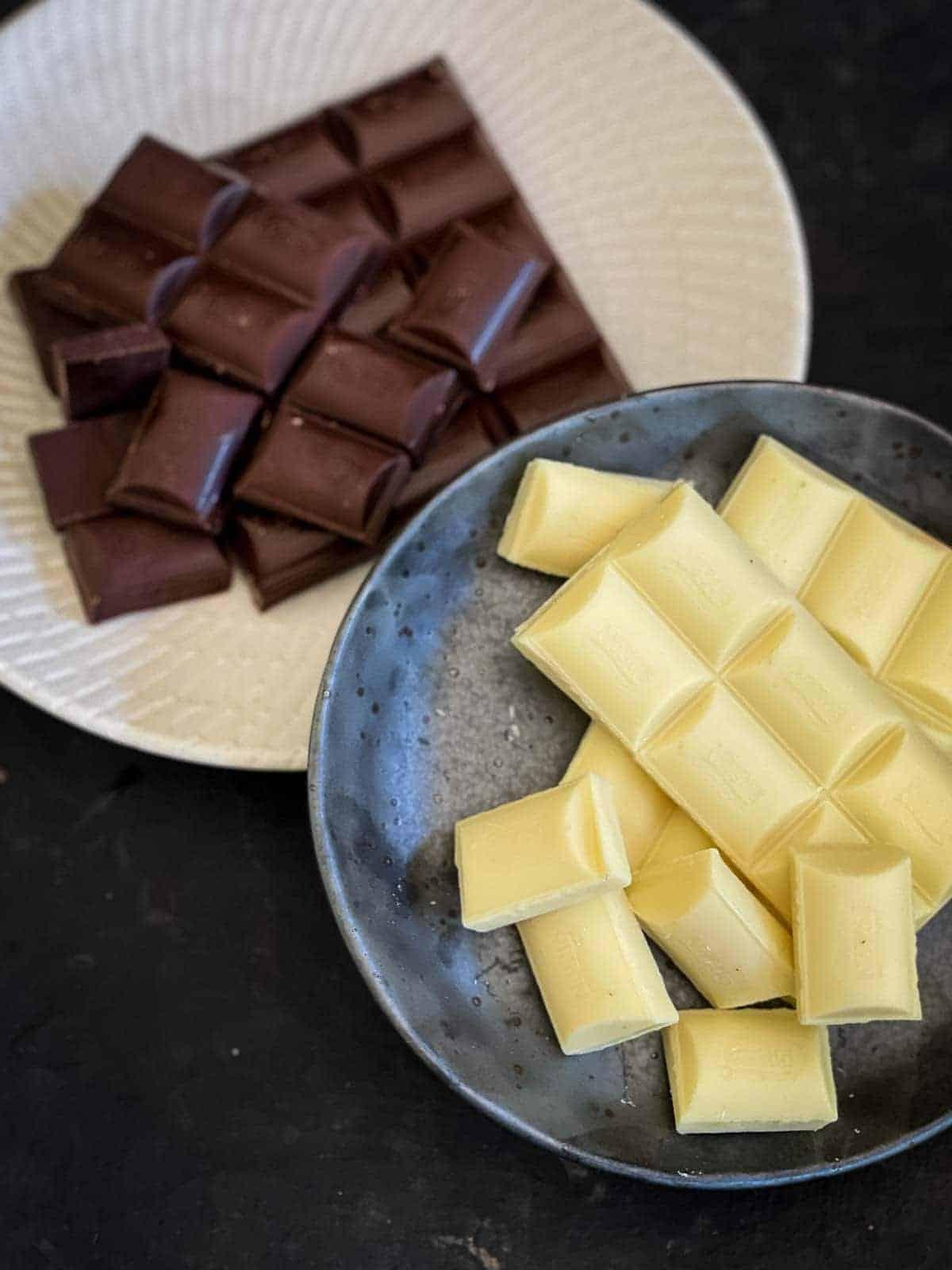 Dark and white melting chocolate