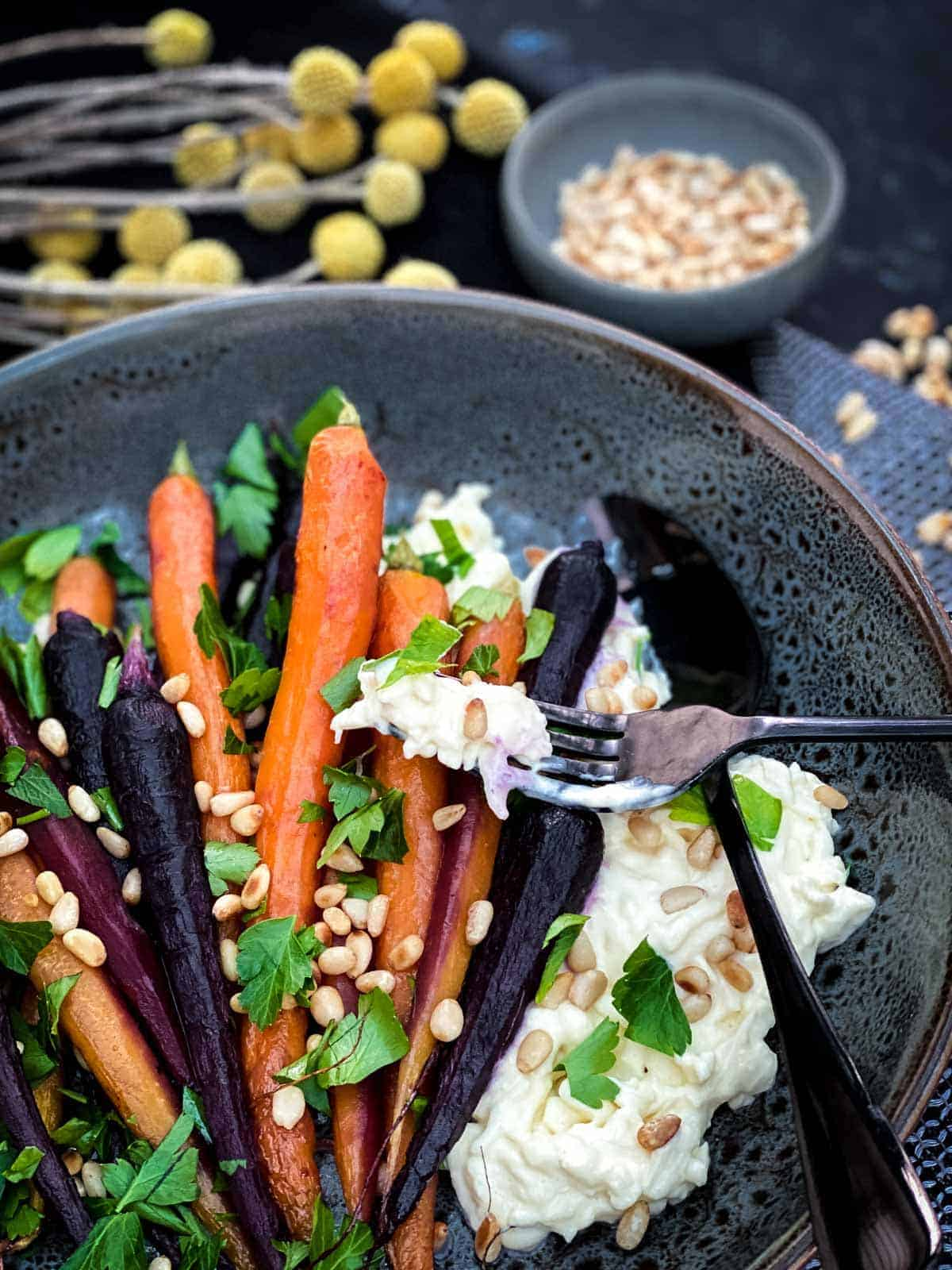 Roasted Maple Carrots with Stracciatella Cheese
