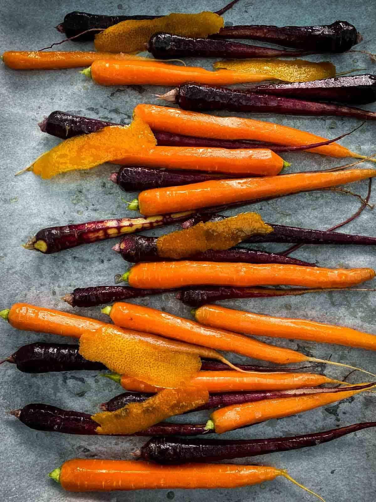 Roasting maple and orange Dutch carrots