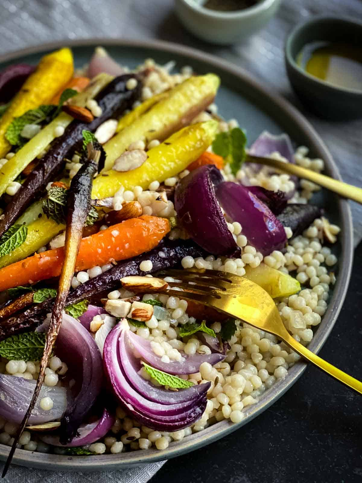 Roasted Rainbow Carrots with Pearl Couscous