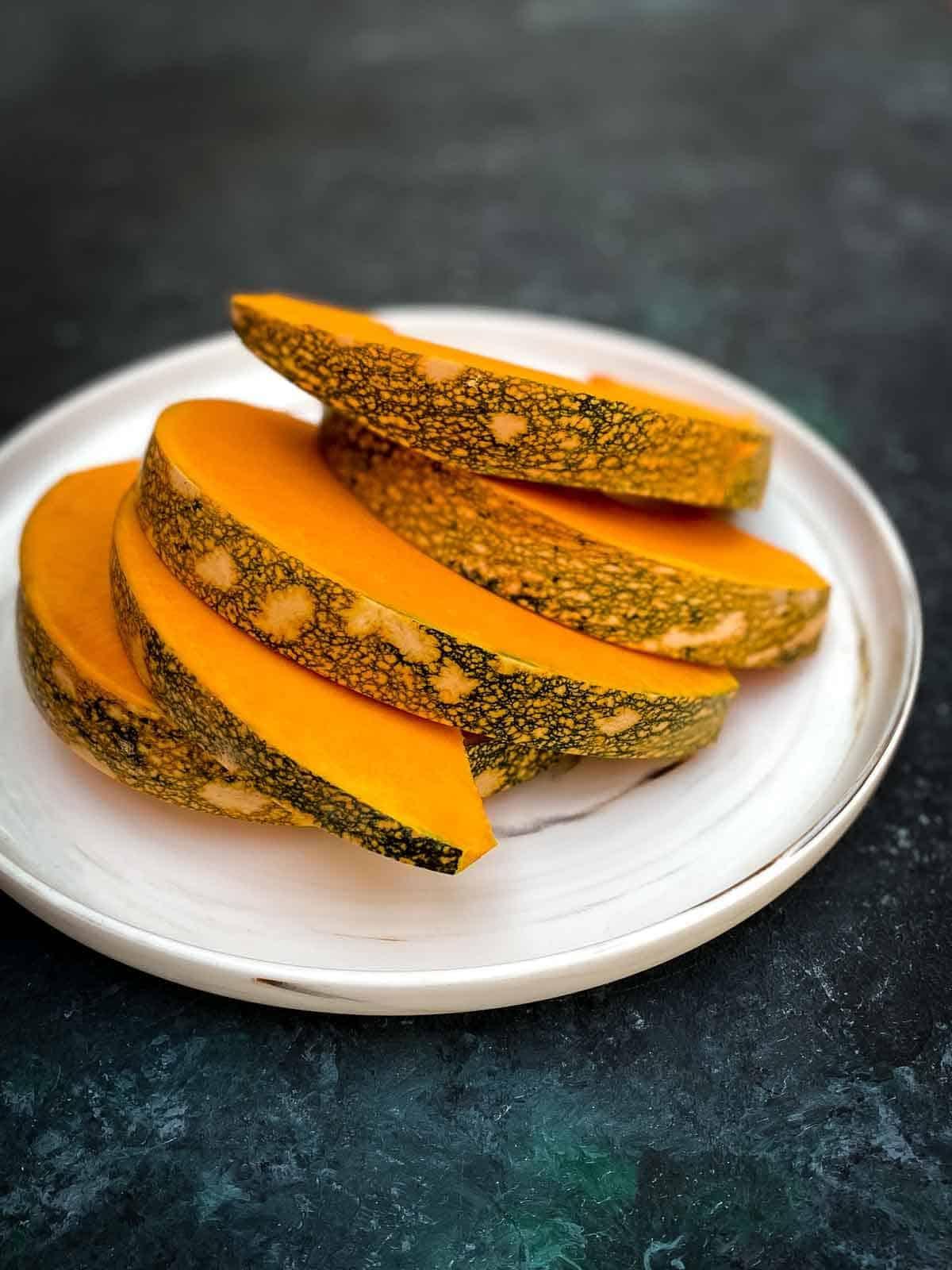 Sliced Japanese or Kent pumpkin