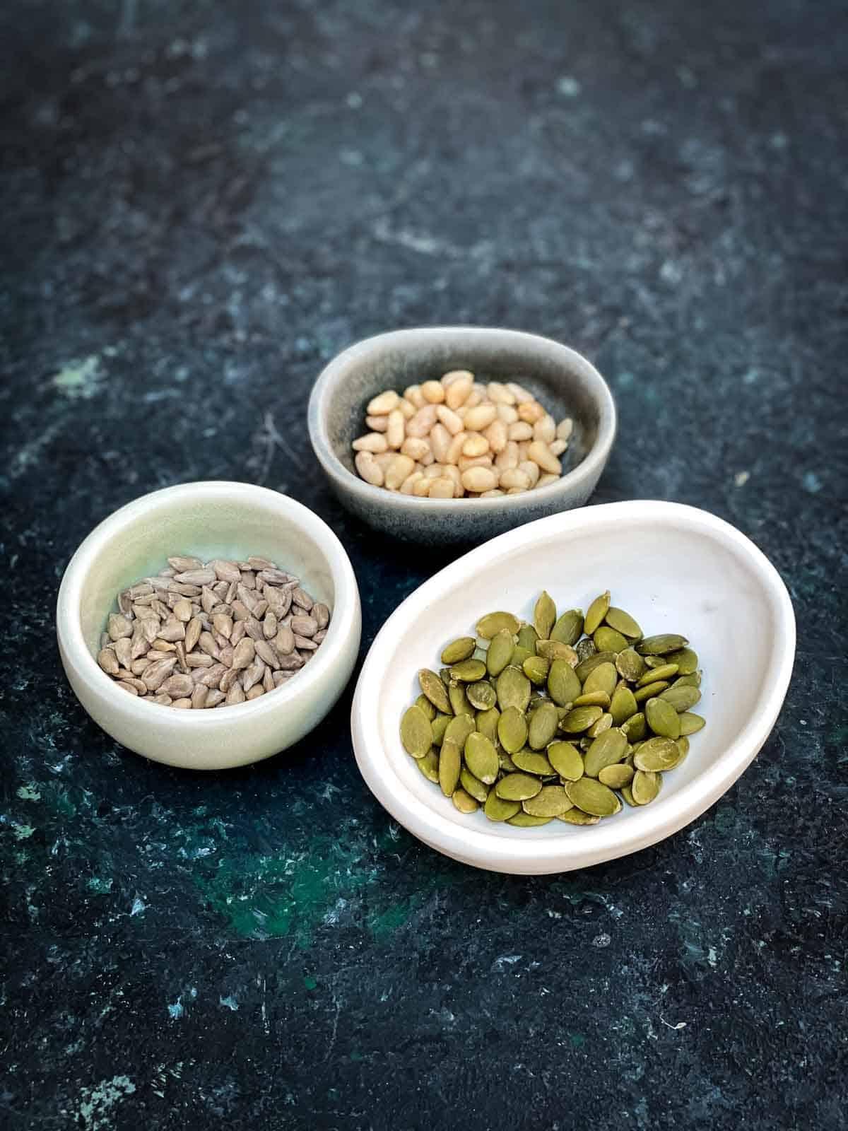 Pine nuts, sunflower seeds, pepitas.
