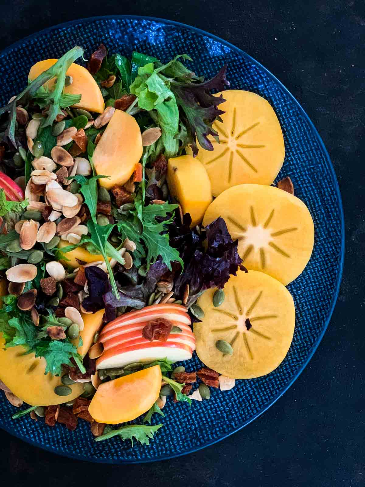 Salad with Persimmons and Beetroot Dressing
