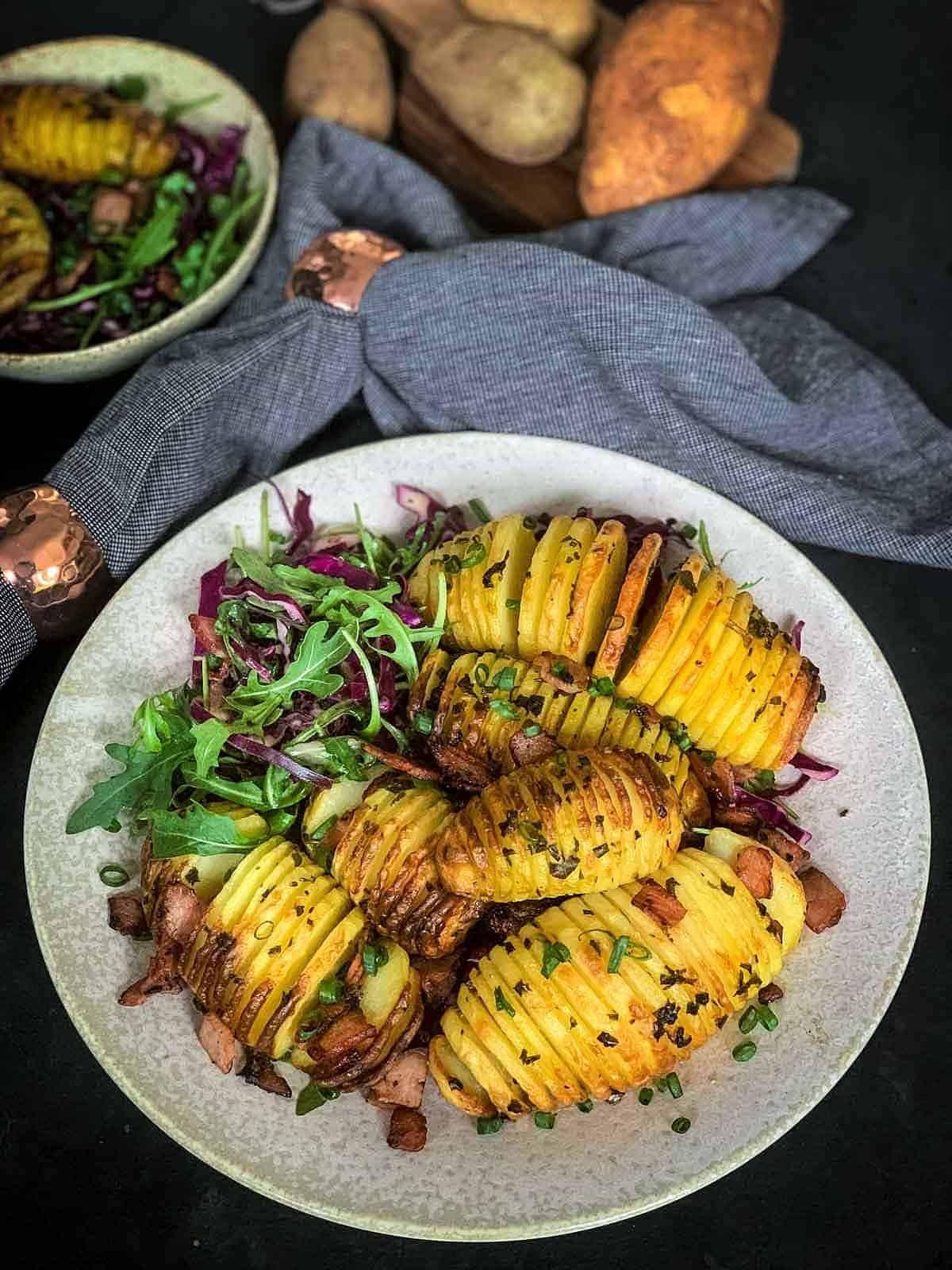 Salad with Roasted Potatoes, Bacon & Arugula