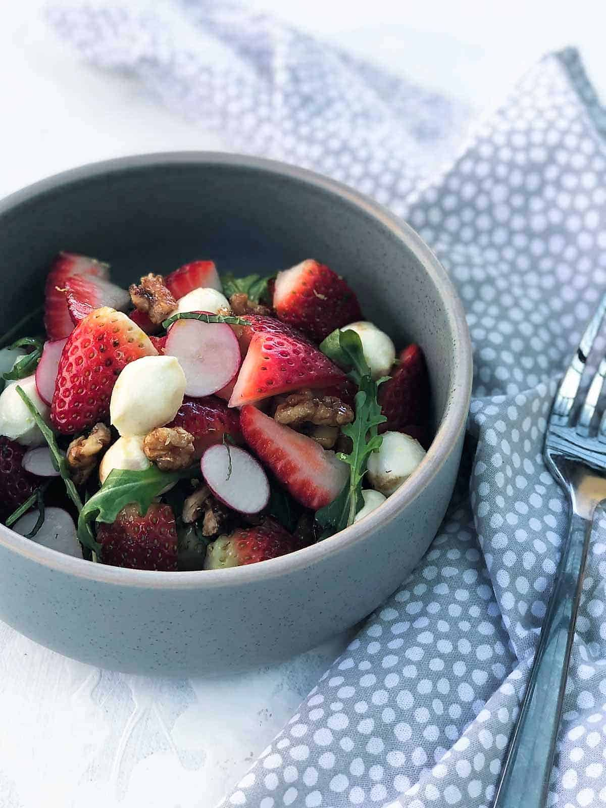 Summer Strawberry Salad with Bocconcini and Rocket