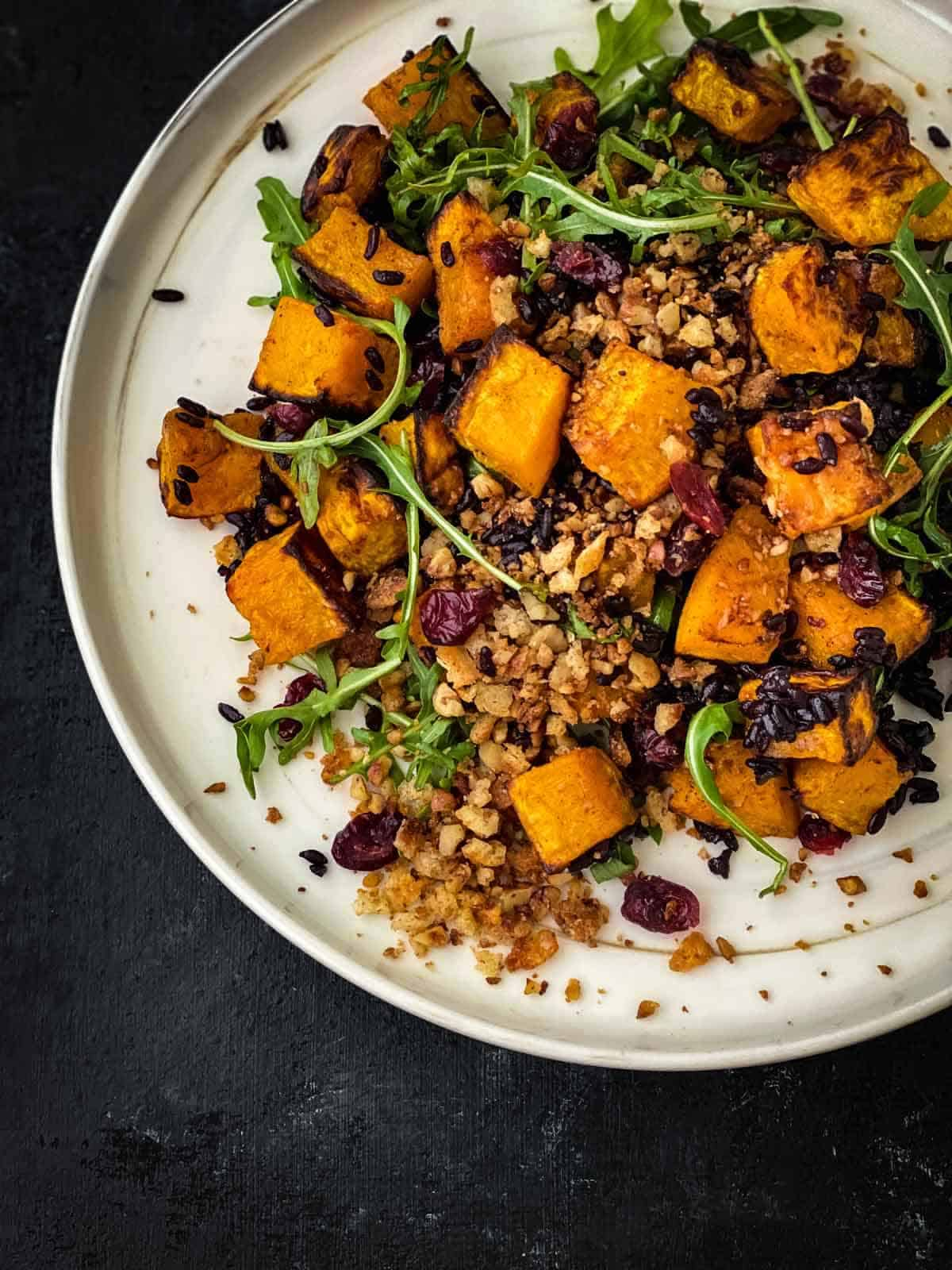 Vegan Salad with Butternut Squash and Cranberries